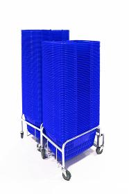 マイバスケット 買い物かご 水平 青色 3837