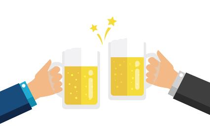 ビール・アルコール 手持ち 乾杯 イラスト (宴会・飲み会・祝賀会)