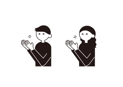 拍手をするピクトグラム アイコン風の人物イラスト