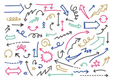 シンプルなカラフル矢印のイラストセット