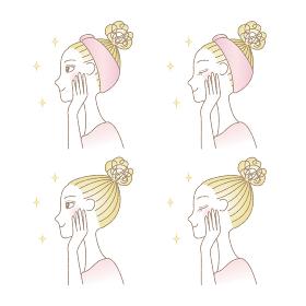 頬に手を当てる女性の横顔 スキンケア