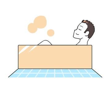 入浴する 横向き 男性