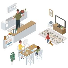 アイソメトリック リビングでテレワークをする女性 キッチンにたつ男性 家族 イラスト