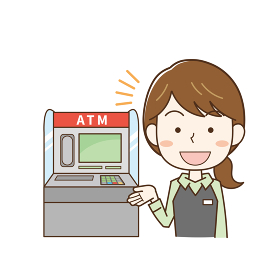 ATMの使い方を説明する女性銀行員のイラスト