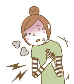 胸が痛い若い女性 ママ