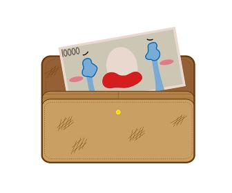 汚れたお財布で泣くお金のイラスト