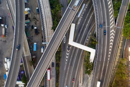 Hong Kong, 12 February 2019: Top view of Hong Kong traffic