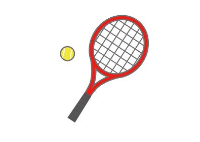 赤いテニスラケットとテニスボール