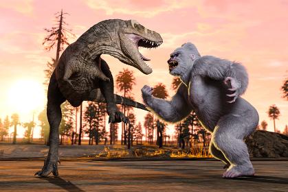 朝日が昇る美しい朝焼けを背景にティラノサウルスと白い大きなゴリラが己の強さを比べ合っている