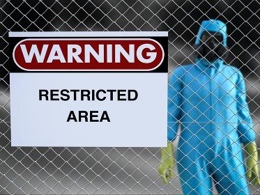 3D rendering of person in hazmat suit in restricted area.