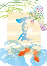 涼しげな夏の金魚のイラスト