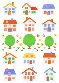粘土の家12軒と樹木