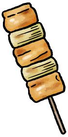 【手描きベクター食べ物イラスト素材】焼き鳥(ねぎま)のイラスト【縁日・お祭り・屋台の食べ物】