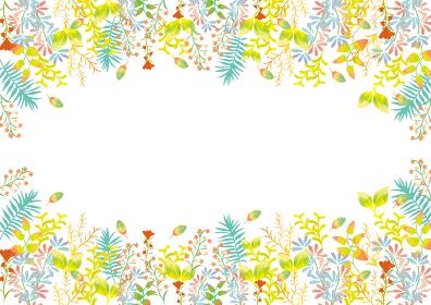 ナチュラルな植物の背景素材 フレーム 枠 緑 新緑 水彩 葉