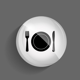 Food and Drink  Glossy Icon Vector Illustration on Gray Background. EPS10.. Food and Drink  Glossy Icon Vector Illustration