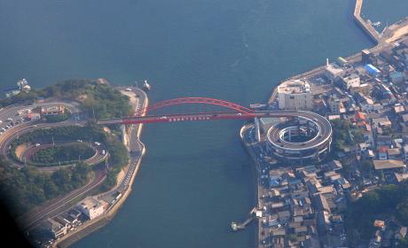 音戸大橋の空撮(2010年海自岩国航空基地主催US-2体験搭乗イベント)