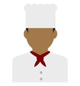 上半身シルエット人物イラスト (アジア人・アラブ人・黒人) / コック・シェフ・料理人