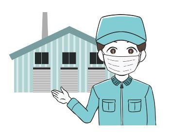 工場を案内する作業員 男性 マスク 作業帽