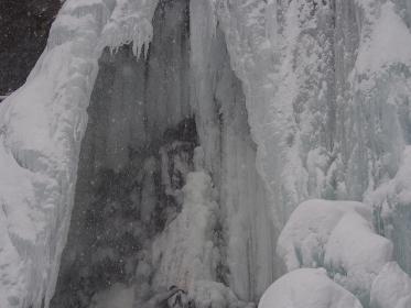 善五郎の滝の氷のアップ