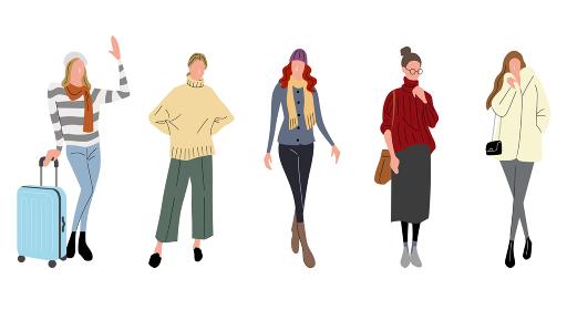 イラスト素材:女性、冬のファッション