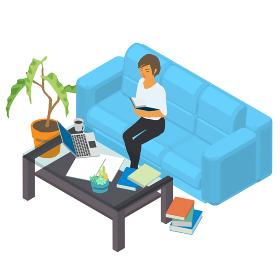 ソファで仕事する若い女性のベクターイラスト