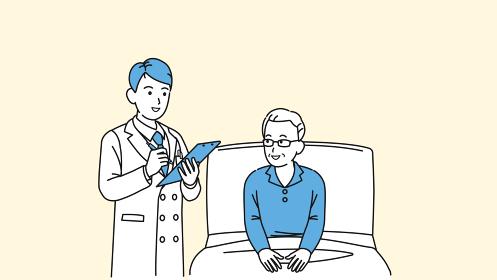 入院する年配の男性と医者 シニア 高齢者 患者 説明 イラスト素材