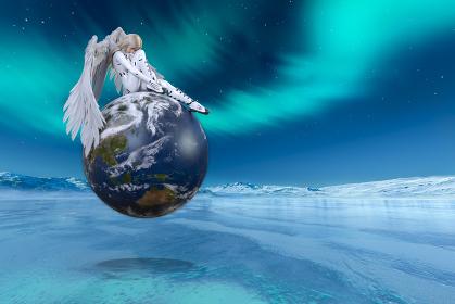 オーロラが見える氷の大地で大きな純白の翼が生えたブロンドの女性が白いボディスーツを着て地球の上に座る
