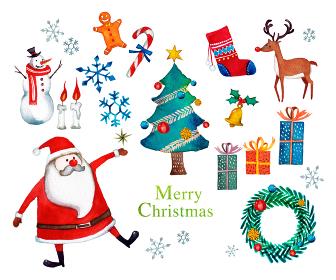 クリスマス サンタクロース セット 水彩 イラスト