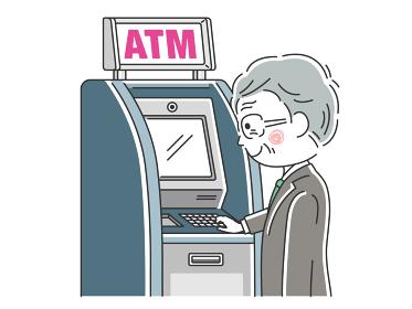 ATMを利用するビジネスマンのイラスト