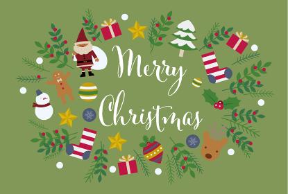 クリスマスカード用のテンプレートイラスト