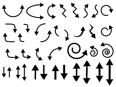 黒色のシンプルでラフな矢印のベクター素材セット