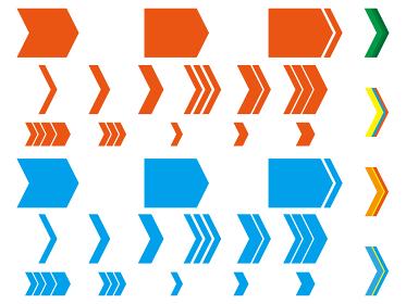 シンプルな矢印の図形のベクター素材セット