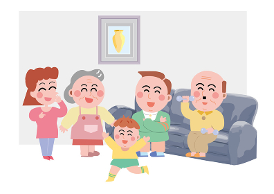 部屋の中で鉄アレイで筋トレをするおじいさんと笑顔な家族