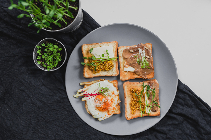 Variety of sandwiches for breakfast, snack, appetizers with fried egg, peanut paste, pea microgreen. Flat lay, top view
