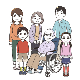 高齢男性と家族みんな