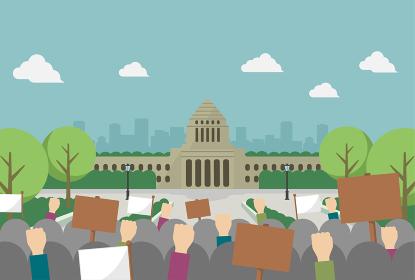 日本の国会議事堂と抗議デモ ベクターイラスト (文字なし)