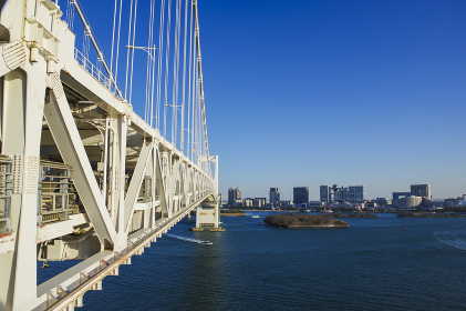 吊橋の歩道から眺めるビル群