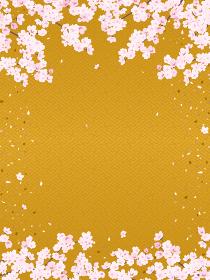 紗綾型文様の背景と桜(縦長)