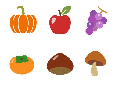 秋の食べ物 アイコンセット