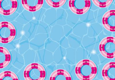 夏のイメージのイラスト|海プールに浮かぶピンクの浮き輪|暑中見舞い用背景