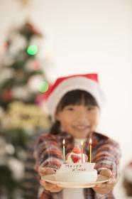 クリスマスツリーの前でケーキを差し出す女の子