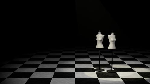 女性 トルソーマネキン アパレル 暗闇 3DCG 背景