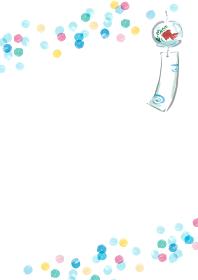 風鈴のある夏っぽいカラフルな水玉模様の手描き背景フレーム