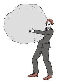 借金や介護の負担を背負うスーツの男性のイラスト