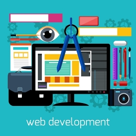 Concept of web design and development with web banners, design tools and digital devices in flat style
