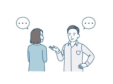 会話する中高年の夫婦 話す コミュニケーション 男女 ミドル イラスト素材