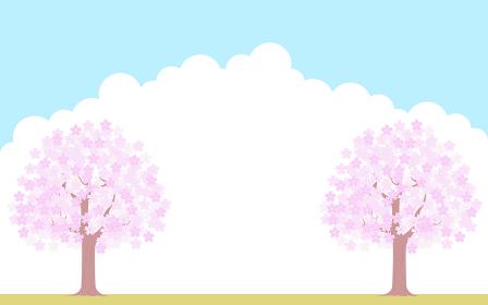 満開の桜の木、青空と雲の背景、イラスト素材