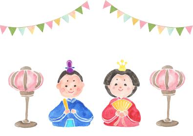 水彩で描いたひな祭りのイラスト