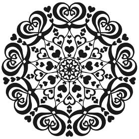 ハートの丸いレース曼荼羅イラスト素材 白黒