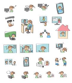テレワーク・オンライン授業関連イラストセット